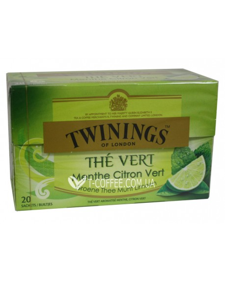 Чай TWININGS The Vert Menthe Citron Vert Зеленый Мята Лайм 20 х 1,5 г (5055953902364)